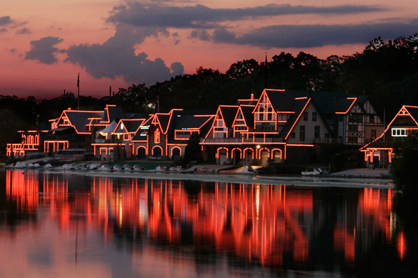 Boathouse Row illuminated at night